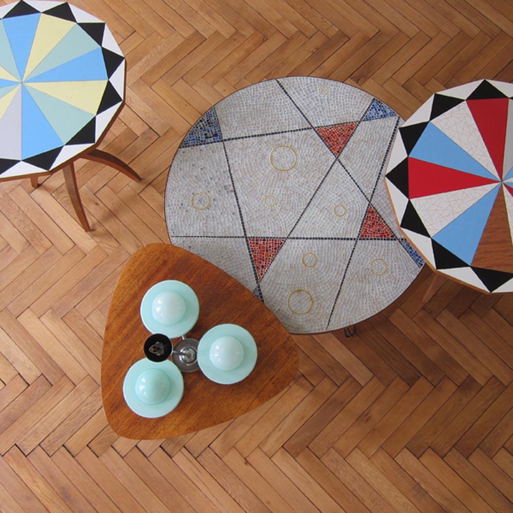 MAR-DEN BERLIN czech 70s tiled tables_art deco light