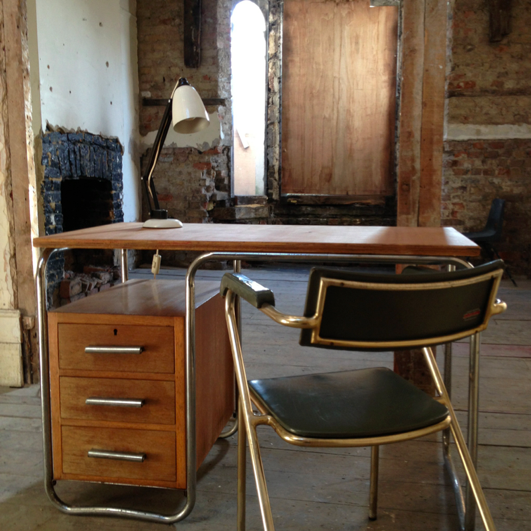 1930s Cox Desk, 1950s Italian chair and 1950s Conran Maclamp. Safehouse 1